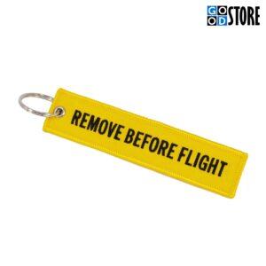 """Kollane """"Remove Before Flight"""" võtmehoidja"""