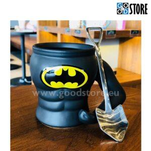Tass Batman koos lusikaga, keraamiline, stiilne (musta värvi)