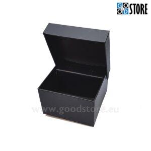 Tühi kinkekarp lipsu komplektile, musta värvi, ilma kirjadeta, kuubiku kujuline