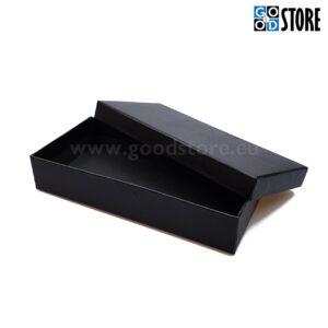 Tühi kinkekarp lipsu komplektile, musta värvi, ilma kirjadeta, ristküliku kujuline