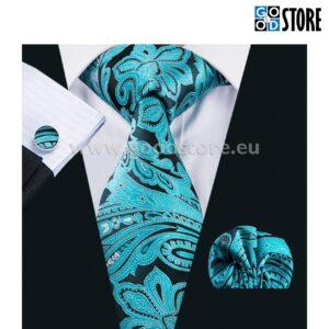 Siidlipsu komplekt, mansetinööpide ja rinnarätikuga, liustiku sinine ja must