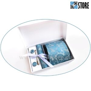 Kinkekarp luksusliku lipsu, mansetinööpide, lipsunõela ja rinnataskurätikuga, liustiku sinine