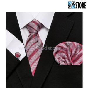 Sõlmitava siidlipsu komplekt, esinduslik punane ja valge, triibuline