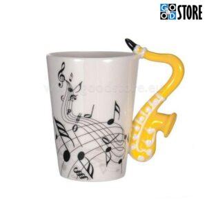 Tass, saksofonikujulise sangaga, keraamiline, stiilne