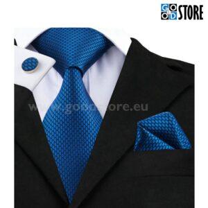 Seotava lipsu komplekt mansetinööpide ja rinnataskurätikuga, sinine