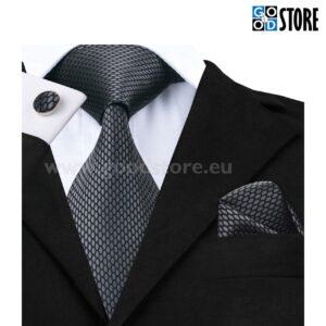 Seotava lipsu komplekt mansetinööpide ja rinnataskurätikuga, grafiit hall