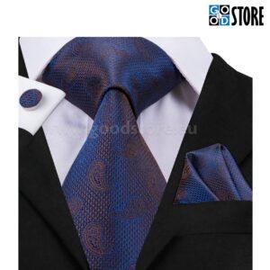 Seotava lipsu komplekt mansetinööpide ja rinnataskurätikuga, tumesinine