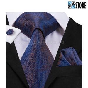 Seotava lipsu kinkekarp mansetinööpide ja rinnataskurätikuga, helkiv tumesinine