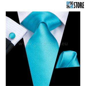 Siidlipsu kinkekarp, mansetinööpide ja rinnarätikuga, liustiku sinine