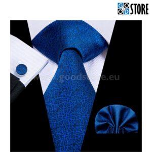 Siidlipsu kinkekarp, mansetinööpide ja rinnarätikuga, sinine
