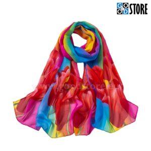 Naiste šifoonist rätik, 160 x 50cm, erksate värviliste tulpidega