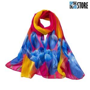 Šifoonist naiste rätik, 160 x 50cm, erksates värvides tulpidega