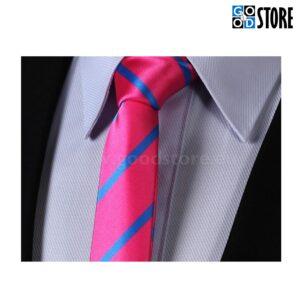 Kitsa lipsu komplekt, fuksia roosa ja sinise triibuline, moekas värk!