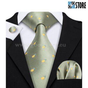 Siidlipsu komplekt, mansetinööpide ja rinnarätikuga, roheline lips kollaste tikitud ananassidega