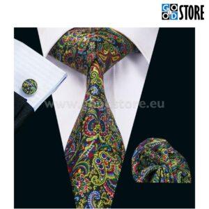 Äge lipsu komplekt, mansetinööpide ja rinnarätikuga, säravvärvilise mustriga