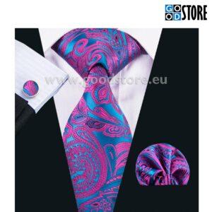 Stiilne ja moodne lipsu komplekt mansetinööpide ning rinnataskurätikuga, rõõmsates värvides