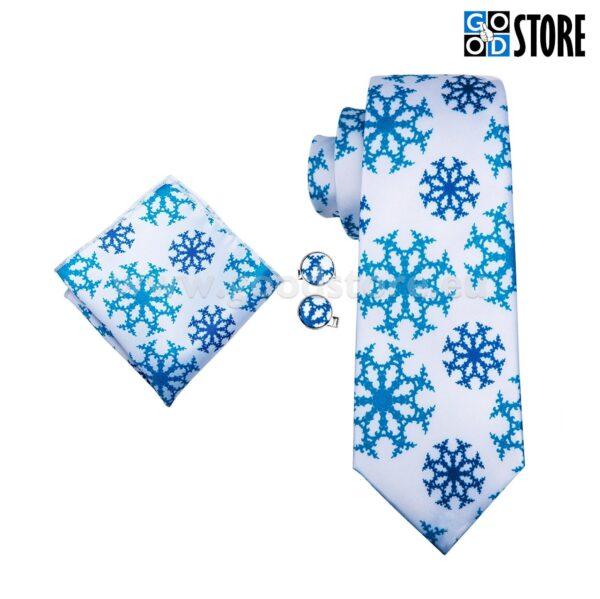 Valge seotava lipsu komplekt, lumehelvestega