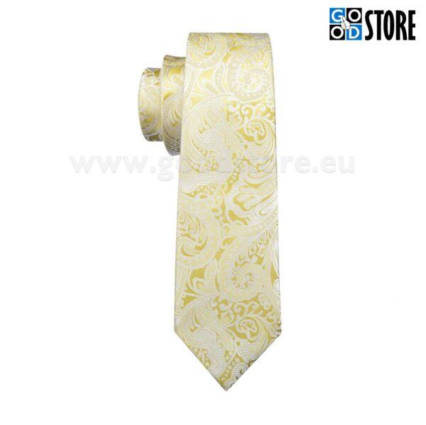 Esinduslik lipsu komplekt, mansetinööpide ja rinnarätikuga, helekollane