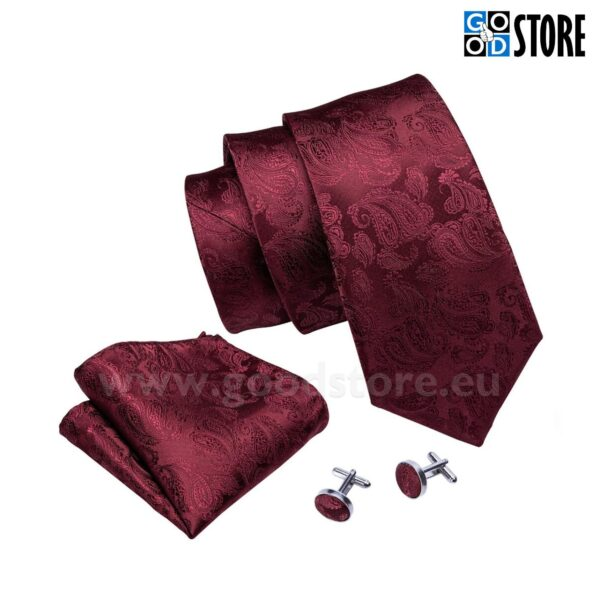 Esinduslik lipsu komplekt, mansetinööpide ja rinnarätikuga, tumepunane